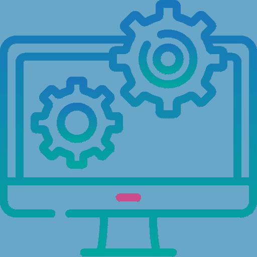 website maintenance icon - gears on computer screen